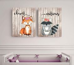 Woodland animals set, Fox picture, Woodland theme decor, curious, clever, Nursery decor, Baby shower gift, Kids Wall Art, Little girls room, by EllowDee on Etsy https://www.etsy.com/listing/259834807/woodland-animals-set-fox-picture