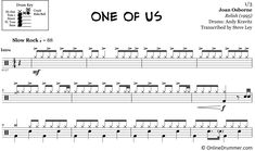 """Learn to play """"One of Us"""" by Joan Osborne with our note-for-note drum sheet music."""