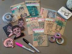 Valentine's Mail Art using handcarved stamps and paper bags!