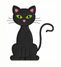 Instant Download Black Cat Applique Machine por JoyousEmbroidery