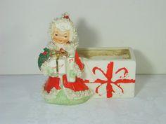 Vintage Napco Christmas Angel Planter 50s by LavenderGardenCottag etsy