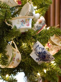 Great way to display Teacups... Every year I make a tea cup tree!