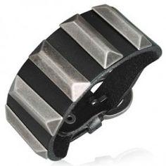 Pulseras de cuero, brazaletes de cuero, pulseras anchas de cuero para hombre y mujer - SilverCode