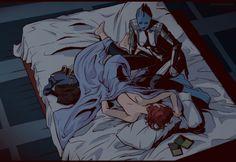 Shepard and Liara in the bed by ~FolksNeedHeroes