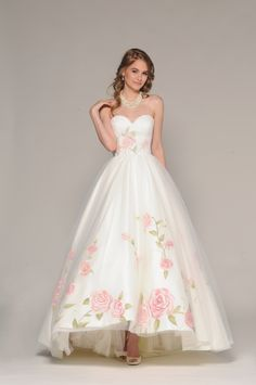eugenia couture fall 2016 bridal strapless sweetheart neckline pretty hand painted floral accent wedding ball gown dress style rosalia -- Top 100 Most Popular Wedding Dresses in 2015 Part 1 Popular Wedding Dresses, 2016 Wedding Dresses, Wedding Gowns, Floral Wedding Gown, Dresses 2016, Dresses Online, Ball Gown Dresses, Evening Dresses, Prom Dresses