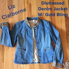"NWT Liz Claiborne Denim ""Bling"" Jacket This is super cute and chic!!!  Denim has a distressed wash. Collar and sleeve cuffs has gold sequins and beads for that classy look!!!  Zip front pockets and hidden snap button closure. Measures 21"" from shoulder to hem, 16"" waist, 18"" bust, this is laying flat. Petite small. NWT  Liz Claiborne Jackets & Coats"