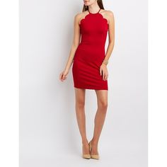 Charlotte Russe Scalloped Bib Neck Bodycon Dress ($20) ❤ liked on Polyvore featuring dresses, red, charlotte russe dresses, scalloped dress, red dress, body con dress and red stretch dress