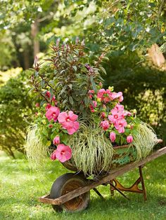 Reuse an old wheelbarrow for a new, fresh look! More whimsical garden plans: http://www.bhg.com/gardening/landscaping-projects/landscape-basics/whimsical-landscaping-design-ideas/?socsrc=bhgpin061214reusereusepage=2
