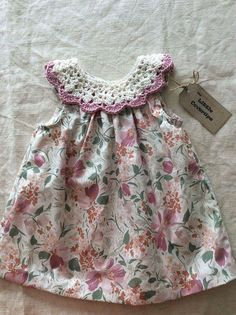 Items similar to Baby Dress/Sundress /Floral Dress/ Detachable Crochet Collar /Cotton Lawn/Cotton Crochet Collar / Baby Shower Gift mths on Etsy Crochet Dress Girl, Crochet Girls, Crochet Baby Clothes, Crochet Shoes, Little Girl Dresses, Girls Dresses, Frock Patterns, Rose Clothing, Diy Dress