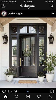 Black Exterior Doors, Black Front Doors, Front Doors With Windows, Black Door, House Front Door, House Doors, Glass Front Door, Garage Doors, Front Door Design