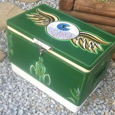 Vintage Colman Metal Cooler Ice chest Pinstriping Pinstripe Art Rat Fink Hot Rod #Colman