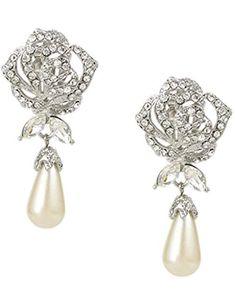 EVER FAITH® Austrian Crystal Ivory Color Simulated Pearl Flower Bridal Clip On Earrings A07216-2 eV5Yk