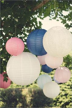 Pink, white, and blue lanterns. Captured By: Anne-Claire Brun ---> http://www.weddingchicks.com/2014/06/05/vintage-chic-french-wedding/