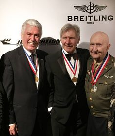 """At the Annual """"Living Legends of Aviation"""" Awards, President Uchtdorf stood on the same stage as Harrison Ford and John Travolta as he presented an award to LDS pilot Gail Halvorsen, also known as the Candy Bomber. - Possibly the coolest photo ever. Dieter F Uchtdorf, Lds Singles, Aviation Humor, Aviation World, Church News, Epic Photos, John Travolta, Harrison Ford, Dekoration"""