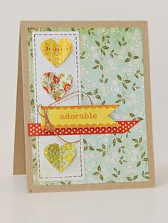 Card ......i just love these stitched hearts~Adorable by Lynn Ghahary