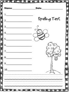 001 Spelling Test Papers 3 Versions and Sentence Paper Chang