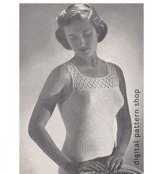 Knit Camisole Pattern 1940s Vintage Lace Top Knitting Pattern Womens Underwear Bust 32 34 26 28 PDF Instant Download - K31 by DigitalPatternShop on Etsy