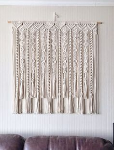 Macrame Curtain/ Large Macrame Wallhanging/ Kitchen Valance/ Wedding Backdrop/ Wallhanging/ Cotton C Macrame Design, Macrame Art, Macrame Projects, Modern Grey Kitchen, Grey Kitchen Designs, Macrame Wall Hanging Patterns, Macrame Patterns, Art Macramé, Cotton Curtains