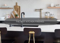 Now that we've talked about our favorite bathroom fixtures when it comes to all things plumbing, it's time to share our favorite kitchen fixtures including sink Black Kitchens, Cool Kitchens, Colorful Kitchens, Kitchen Fixtures, Kitchen Cabinetry, Kitchen Colors, Kitchen Design, Interior Walls, Interior Design