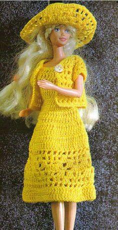 Yellow Dress for Barbie: labores de esther. todo para Barbie (with stitch diagram) Crochet Doll Dress, Crochet Barbie Clothes, Doll Clothes Barbie, Barbie Dress, Knitted Dolls, Barbie Doll, Barbie Clothes Patterns, Clothing Patterns, Habit Barbie