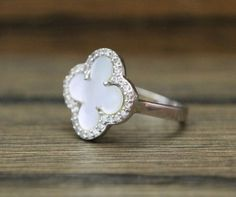 925 sterling silver mother of pearl clover with by YUNDARASHOP, $23.99
