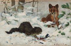 Bruno Liljefors (1860-1939) - A wild cat defends pray against a fox 1881
