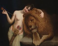 'The Godess Artemis with a Lion' by Angelo VonCourten. - not a tarot card, but carries the same feeling of the Strength card. Sacred Feminine, Divine Feminine, Roman Mythology, Greek Mythology, Potnia Theron, Classic Paintings, Love Painting, Gods And Goddesses, Beauty And The Beast
