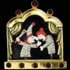 Gold Pave and Enamel Punch and Judy on a Puppet Theatre Stage Trembler Scene Pin Clip. Mid to Late Theatre Stage, Puppet Theatre, Vintage Costume Jewelry, Vintage Costumes, Punch And Judy, Thats The Way, Vignettes, Puppets, Scene