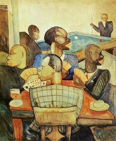 Palmer Hayden (1890-1973) : Nous Quatre à Paris (The Card Game), 1930.