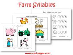 Farm Syllable Activity for preschool and kindergarten