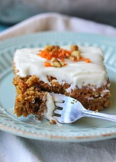 This Greek Yogurt Pineapple Carrot Cake is super moist! The Greek yogurt cream cheese frosting is a must as well.