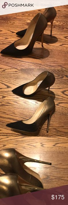 Jimmy Choo gold bronze and Black pumps size 38.5 Jimmy Choo Gold and Black Suede and leather pumps. Shiny gold stiletto pump. Only worn once. Jimmy Choo Shoes Heels #stilettoheelsjimmychoo