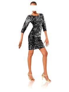 Bodyforming-Paillettenkleid schwarz