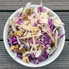 Candice Kumai of Top Chef fame began developing this recipe on her search for a healthier version of fat-laden coleslaw. What she ended up creating was a detox and diuretic salad that stands strong on its own. Apples marry with the dynamic duo of red and savoy cabbage, combining for a fiber-filled meal that aids in digestion. The addition of fennel seeds adds to the fiber factor, plus a kick of cayenne boosts your metabolism. Photo: Lizzie Fuhr