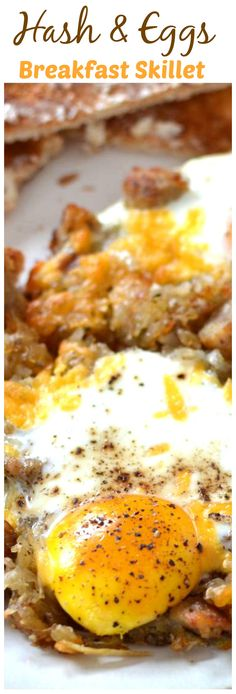 Savory hash that's crispy on the outside and fluffy on the inside, topped with perfectly cooked eggs and a side of toast.