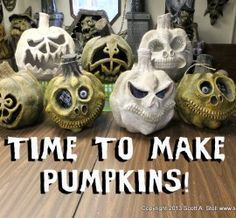 How to make Spooky and Scary Paper Mache Pumpkins! Our real pumpkins are eaten by squirrels, and the fake pumpkins are sooo expensive. This could be the solution for next year!if I could find the time. - Home Decor Diy Cheap Halloween Tags, Theme Halloween, Halloween Projects, Diy Halloween Decorations, Holidays Halloween, Happy Halloween, Halloween Buffet, Halloween Stuff, Scary Halloween Pumpkins