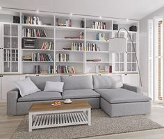Szary salon – Home Trends 2020 Home Library Rooms, Home Library Design, Small Space Interior Design, Home Libraries, Home Room Design, Living Room Designs, Living Room Bookcase, Home Living Room, Apartment Living
