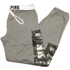 Victoria's Secret PINK Campus Sweat Pants Small Gray Bling at Amazon... ($100) ❤ liked on Polyvore featuring victoria's secret