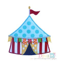 Circus Tent with Ribbon flags Digital Embroidery Design Machine Applique on Etsy, $2.99