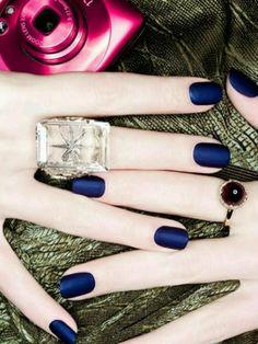 Matte Royal Blue Nails