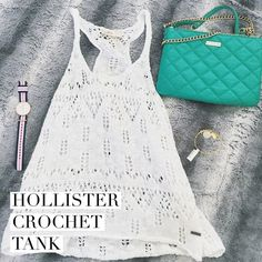 Hollister Crochet Top Adorable white Hollister crochet top. You can see through it obviously so I wore it as a cover up at the beach as well as just with a bandeau under it for a summer day. It's in perfect condition!  looks so cute on! Hollister Tops Tank Tops