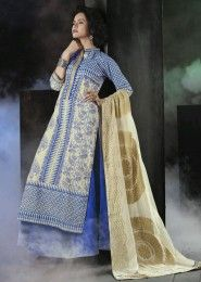 Party Wear Cotton Blue Embroidered Work Plazzo