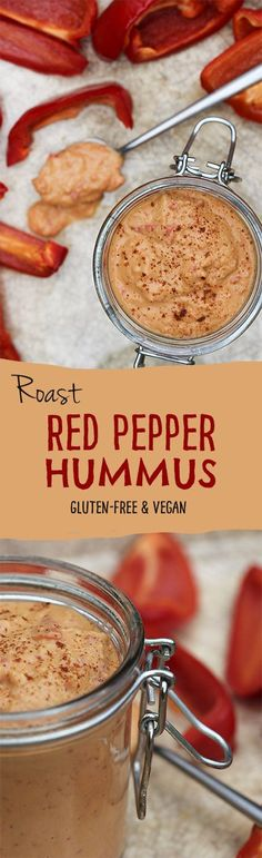 Red pepper hummus is underrated. That stuff is addictive. Roast red pepper hummus by Trinity Vegetarian Recipes, Cooking Recipes, Healthy Recipes, Vegetarian Tapas, Vegetable Recipes, Hummus Ingredients, Red Pepper Hummus, Roasted Pepper Hummus Recipe, Red Pepper Dip