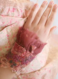 romantic wrist wrap from antique laces silk and nuno felt