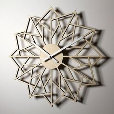 *Natural finish shown.    A modern, geometric pinwheel design wall clock. Made from laser cut birch plywood. Available in natural with a clear