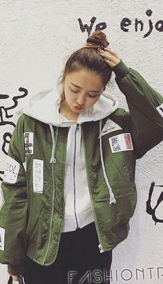 Fashiontroy Street style long sleeves green letter printed padded coat