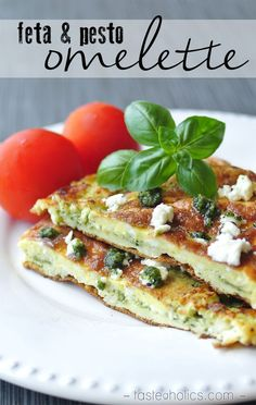 Tired of the same breakfast? Try this delicious pairing of fresh basil pesto, salty feta cheese and light fluffy eggs. Perfect for a summer low carb brunch! http://www.tasteaholics.com