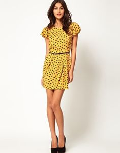 Enlarge ASOS Mini Tulip Dress With Flute Sleeve In Floral Print