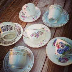 Mismatched teacups vintage tea party girls by southernsweetwater