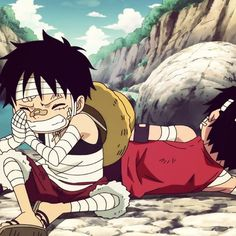 Luffy and Ace as kids . Dude watching them as kids was so amusing I just love their brotherhood.<3 it's just so precious.